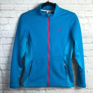 Spyder Core sweater. Turquoise with pink detail